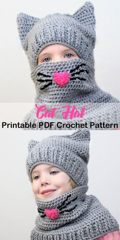 a44103814a5 A cute cat hat! animal hat crochet patterns - crochet pattern pdf -  amorecraftylife.