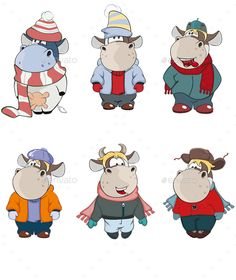 Cartoon Illustration of Happy Cows for you Design - Animals Characters