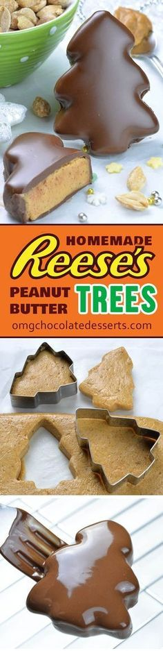 Chocolate Peanut Butter Christmas Trees, Desserts, Reese's Peanut Butter Christmas Trees are your favorite Reese's Peanut Butter Cups disguised in a fun and festive Christmas dessert! Candy Recipes, Holiday Recipes, Dessert Recipes, Snacks Recipes, Holiday Treats, Christmas Recipes, Easy Christmas Treats, Recipies, Thanksgiving Sides