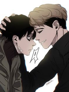 Yoonbum and Sangwoo Anime Boys, Cute Anime Guys, Manhwa Manga, Manga Anime, Sangwoo Killing Stalking, Killing Me Softly, Psychological Horror, Fujoshi, Aesthetic Anime