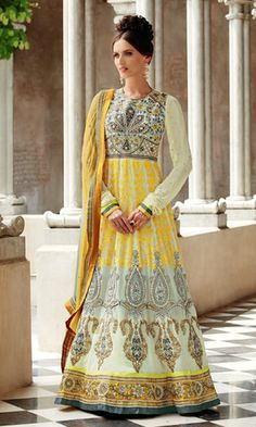 Exclusive Cream Yellow coloured semi stitched salwar suit