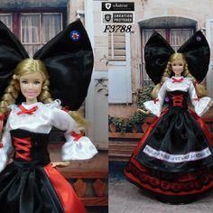 """Robe barbie """" n°1 alsace """" tenue pour poupée barbie f3788"""