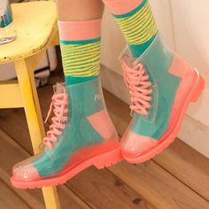 Transparent Candy Color Rain Boots is part of Colored boots - 8 5 5 B(M) US Wo Fashion sweet transparent candy color rain boots Estilo Harajuku, Harajuku Mode, Harajuku Fashion, Kawaii Fashion, Cute Fashion, Fashion Shoes, Fashion Outfits, Rain Fashion, Quirky Fashion