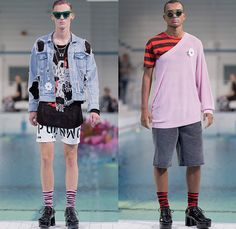 Cheap Monday 2015 Spring Summer Mens Runway Catwalk Looks - Fashion Week Stockholm Sweden - Denim Jeans Retro Faded Destroyed Ripped Destructed Holes Frayed Eighties 1980s Typography Plaid Stripes Acid Wash Bleached Mesh Shorts One Off Shoulder Androgynous Stencil Shirt Button Down Sweater Jumper Slim
