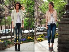 Love cropped pants and heels.  Outerwear pieces are a must for layering in the Fall by auntiedink