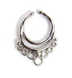 Fake faux Italy Sterling SILVER SEPTUM RING ornate nose piercing hoop PALINA 9
