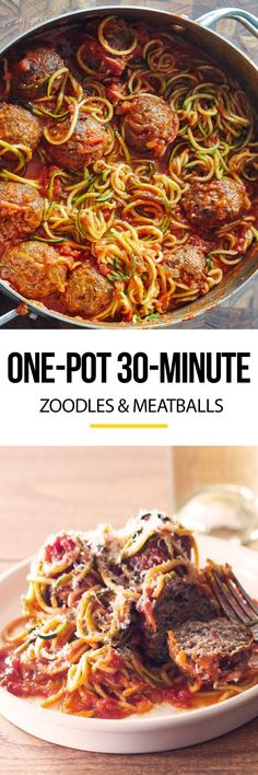 30 minute meals: one pot zoodles and meatballs recipe. The beauty of using spiralized zucchini noodles as a healthy substitute for pasta is how QUICK, FAST, and EASY they are to cook. Fresh zoodles and frozen, cooked meatballs means that you can make this twist on spaghetti, sauce, and meatballs for dinner in no time, weeknights and weekends alike!
