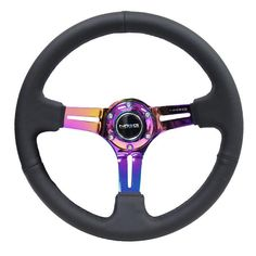 """High Quality Leather Red Stitch 13.7/"""" Strong Spoke Racing Steering Wheel"""