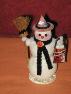 Vintage Style Large Halloween Snowman with by ClearBrookHollow, $9.95