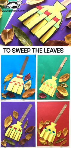 avec des feuillesFun fall arts and crafts project we did using leaves from our yard and the kids handprints for the tree!:TO SWEEP THE LEAVESkrokotak Kids Crafts, Easy Fall Crafts, Fall Crafts For Kids, Preschool Crafts, Diy For Kids, Diy And Crafts, Arts And Crafts, Paper Crafts, Diy Paper