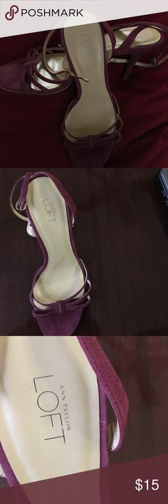 Never worn Ann Taylor Loft Shoes Burgundy/ Purple Suede Sandal. Great for a night out on the town. Ann Taylor Shoes Sandals