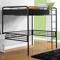 This loft bed, full in metallic black and a slender framework is a great, standard frame that would work in pretty much all situations and styles. The bottom deck has room for many things – desk, bed, storage – while the top deck is the standard twin bed you would expect.
