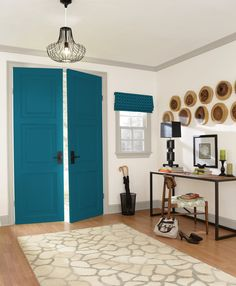 Say hello to Oceanside, a dreamy blue paint color from Sherwin-Williams that's making waves in interior design. We'll explain what makes this stunning shade so special, plus show you how to bring Oceanside into your own home. Teal Front Doors, Front Door Paint Colors, Blue Paint Colors, Painted Front Doors, Interior House Colors, Home Interior Design, Living Room Colors, Reno, Office