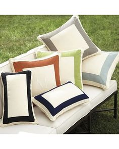 "Outdoor Bordered Pillow Cover - Canvas Coral Sunbrella 20""x20"" - Ballard Designs RL002 SCL 20"