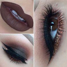 matte and glitter makeup