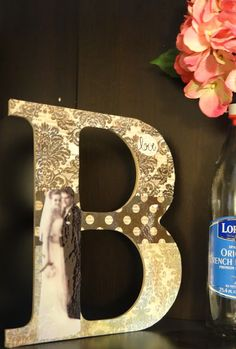 """i've been thinking about placing some R's around the weddin but didn't know exactly what. i think i found it! """"Mod Podge Letter"""" #decoupage #modpodge #craft #crafts"""