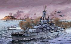 USS Pennsylvania firing at the Iwo Jima landing! Pearl Harbour Attack, Uss Pennsylvania, Battle Of Iwo Jima, Uss Texas, Us Battleships, Capital Ship, Us Navy Ships, Naval History, Historical Art