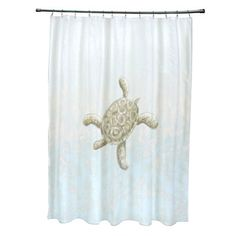 71 x 74-inch Tortuga and Water Coastal Shower Curtain