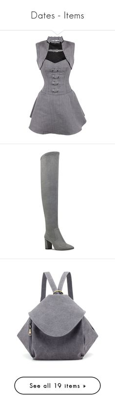 """""""Dates - Items"""" by toddverbose on Polyvore featuring dresses, shrug dress, herringbone dress, grey shrug, gray shrug, cardigan shrug, shoes, boots, dark grey and nine west over the knee boots"""