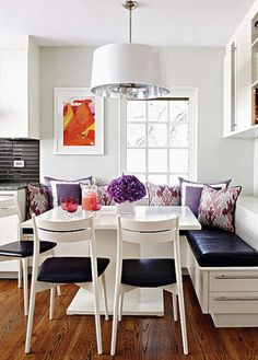 Breakfast nook with a punch of color