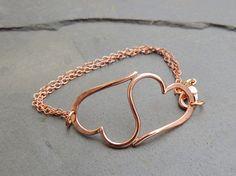 Heart Bracelet  Double Heart Bracelet in Copper  by MoodiChic, $40.00