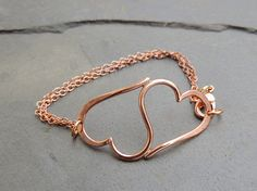 Heart Bracelet • Double Heart Bracelet in Copper • Valentines Day Jewelry