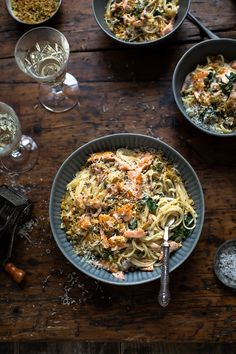 Creamy Salmon Pasta, Salmon Pasta Recipes, Spinach Recipes, Lemon Recipes, Seafood Recipes, Savoury Recipes, Dip Recipes, Delicious Recipes, Smoked Salmon Omelette