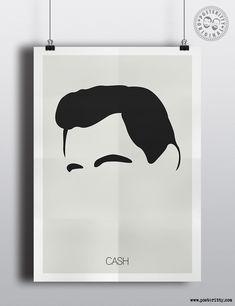 Johnny Cash minimalist hair poster by Posteritty.com minimal musician art