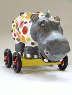 Mosaic Hippo Sculpture on Wheels