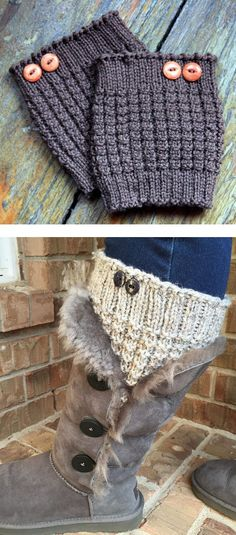 Free Knitting Pattern for Easy 3-Row Repeat Thermal Boot Cuffs - Easy boot toppers knit in a 3 row repeat waffle stitch. Rated very easy by Ravelrers. Designed by Julie Tarsha. Pictured projectby FloralEnvy
