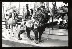 The Monarch Park Carousel Lion at Edgewater Park, Detroit Michigan.