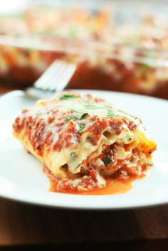 Lasagna in a single serving form, no more messy sloppy layered squares!  I love these.  Not only do they look incredible they taste incredible!  I doubt I will ever make regular layered lasagna again.  These are the perfect serving size, and they are so much fancier.  If you ask me I think they are even easier than layered lasagna.