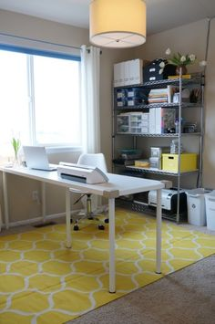 Mid Century Modern Office Grey and Yellow - 01