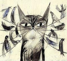 Laura Hughes #cat #birds #illustration