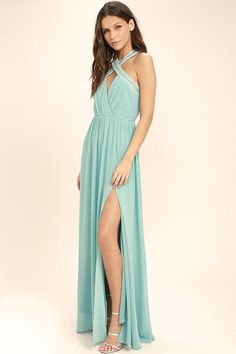 Lulus Exclusive! Finally the My Love Has Come Along Mint Blue Beaded Maxi Dress is here for all those special nights! Thick straps, with silver beads and rhinestones, create a crossing halter neckline above a surplice bodice. Gathered waist gives way to a woven maxi skirt with sexy side slit. Hidden back zipper/clasp.