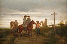 WŁODZIMIERZ ŁOŚ (1849 - 1888)  NA ROZSTAJACH, 1886   olej, płyta; / 32x49 cm
