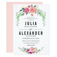 16 Best Watercolor Flower Wedding Invitations Images