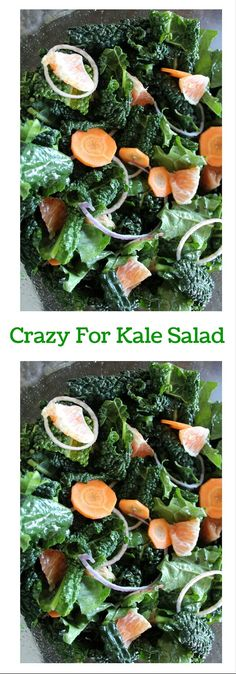 This kale salad is mixed with carrots, seasonal oranges. The tasty citrus… Kale Salad Recipes, Healthy Vegetable Recipes, Healthy Salads, Vegetarian Recipes, Healthy Eating, Healthy Foods, Protein Shakes, Whole Food Recipes, Easy Recipes