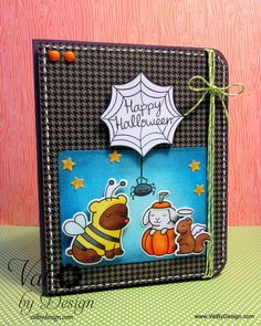 Lawn Fawn (Critters in Costume & Heebie Jeebies) Halloween card by Val By Design, via Flickr