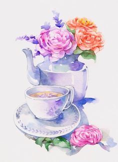 Watercolor teapot and teacup