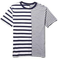 Alexander Wang T by Alexander Wang Contrast-Striped Linen and Cotton-Blend T-Shirt