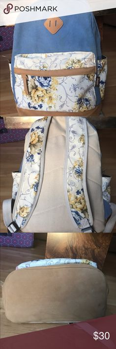 """Floral 🌷 blue leather cloth backpack 🎒 Excellent used condition! Used for one season, no rips, tears or stains. Ask any questions and bundle for 30%! Brand is Leaper- Herschel for visibility! dimensions are 12*17.1*6.7in (L*H*W); Laptop compartment dimensions: 9.4*9.7*1.45 (L*H*W). fit laptops below 14"""" easily. made of high quality canvas, with two side pockets and one front zipper pocket. Herschel Supply Company Bags Backpacks"""