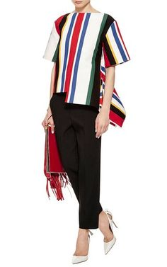 Multicolor Striped Top With Layered Hem by Marni Now Available on Moda Operandi