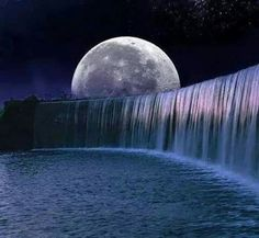 Waterfalls and moon