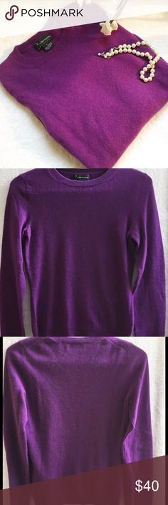 "PURPLE CASHMERE SWEATER, BLOOMIES, SIZE SMALL What a beautiful color!  Pic 1 most represents true color on this gorgeous sweater.  Chest stretches to 18"", length is 19.5 and sleeves are 22"" long.  EUC Bloomingdale's Sweaters Crew & Scoop Necks"