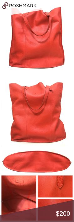 """❤️ Madewell McCarren Tote in Red This super soft, ultra lightweight tote is the perfect shopper. It even has adjustable handles so you can easily sling it over your shoulder or carry it by hand without it touching the ground. This bag shows some signs of wear, pictured, including a couple small nicks in the leather, pictured, that don't go all the way through. They're not holes. Overall it's in excellent condition.  Approximately 16.5""""h x 16""""w x 2.5""""d  ❌ Sorry, no trades. Madewell Bags Totes"""