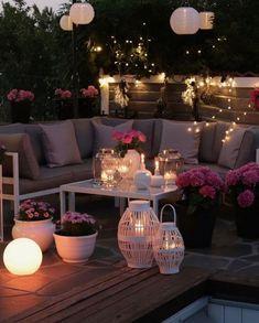 Backyard Lighting, Outdoor Lighting, Outdoor Decor, Lighting Ideas, Lighting Design, Rope Lighting, Rustic Outdoor, Backyard Patio, Backyard Landscaping