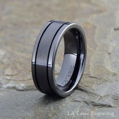 Black Ceramic Wedding Ring, Grooved, Pipe Cut, Brushed, Polished, Mens Womens Ceramic Band,Black Wedding Band, Black Wedding Ring