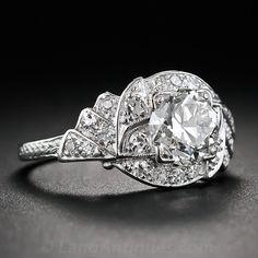 1.20 Carat Diamond Art Deco Platinum Engagement Ring