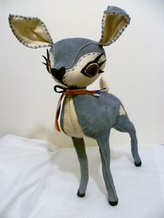 Elvis - Blue Suede Leather & Cream Felt Hand Stitched Deer